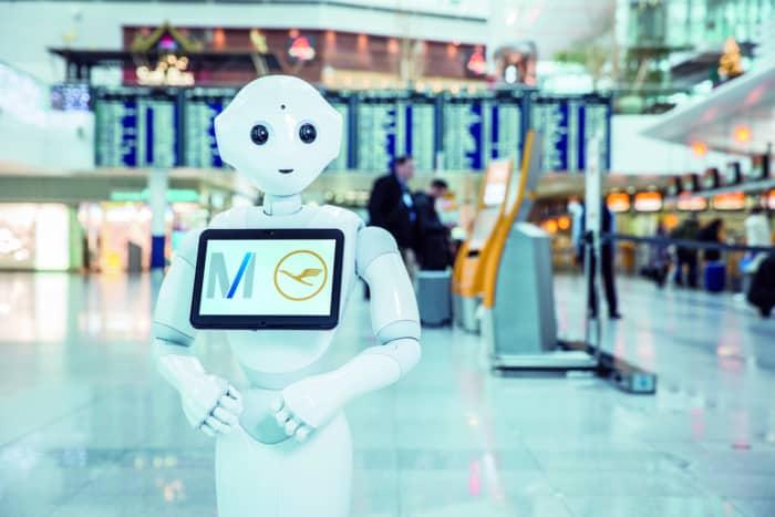 humanoid robot in airport