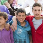 boys at a syrian refugee camp in lebanon