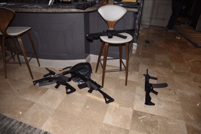 A few of the guns Stephen Paddock used in Las Vegas shooting.