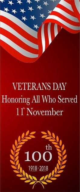 Veterans Day - Honoring All Who Served. 11th November. 100th: 1918-2018