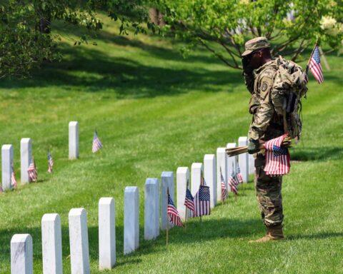 memorial day arlington flags