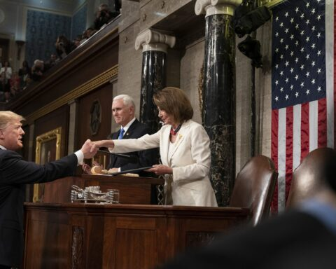 Trump shakes hands with pelosi